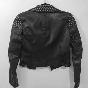 Topshop Jackets & Coats - Topshop Black Faux Leather Biker Jacket
